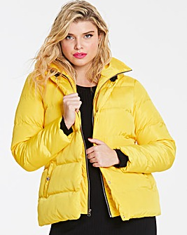 Yellow Double Layer Belted Puffer Jacket