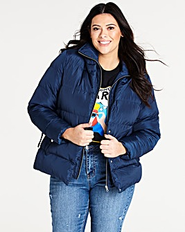 Navy Double Layer Belted Puffer Jacket
