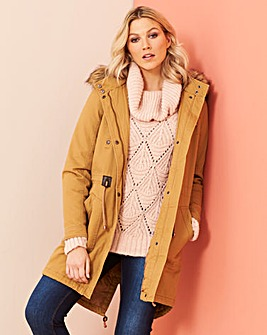 Camel Padded Parka with Faux Fur Trim