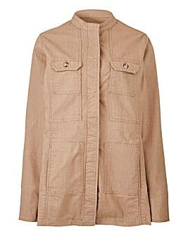Petite Linen Four Pocket Utility Jacket