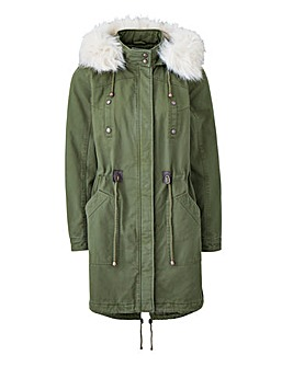 Petite Parka With Faux Fur Trim