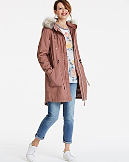 Padded Parka With Faux Fur Trim
