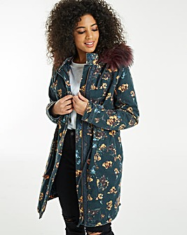 Floral Padded Parka With Faux Fur Trim