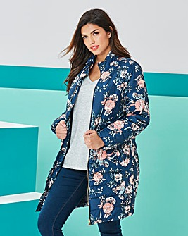 Navy Floral 3/4 Padded Jacket