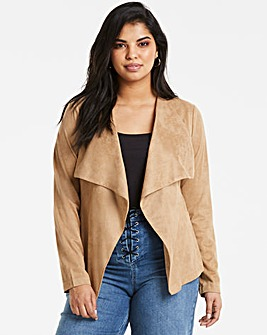 Camel Suedette Waterfall Jacket
