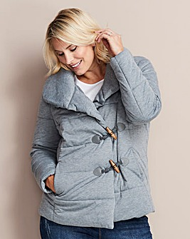 Grey Padded Jacket with Cowl Neck