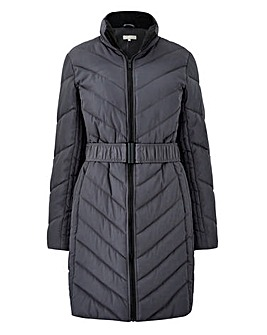 Chevron Padded Belted Coat