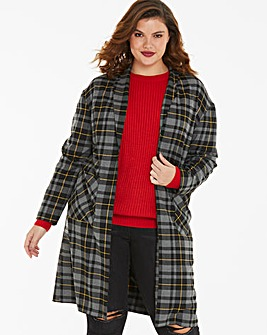 Check Print Duster Coat