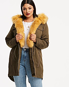 Khaki Parka With Detachable Faux Fur