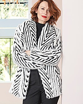 Mono Print Faux Fur Coat