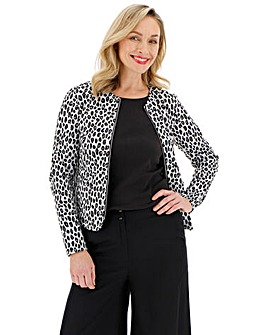 Leopard Print Stretch Jersey Zip Front Jacket