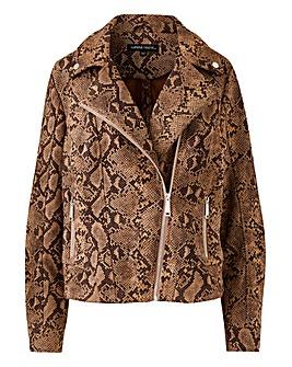 Snake Print Suedette Biker Jacket