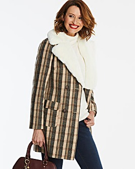 Fur Collar Check Coat