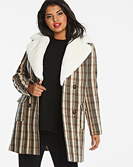 Fur Collar Check Coat