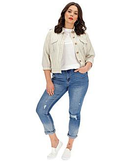 Cream Stripe Linen Jacket