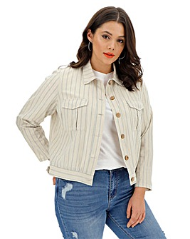 Cream Stripe Linen Jacket