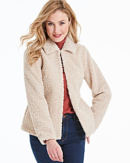 Super Soft Cream Teddy Faux Fur Collar Coat