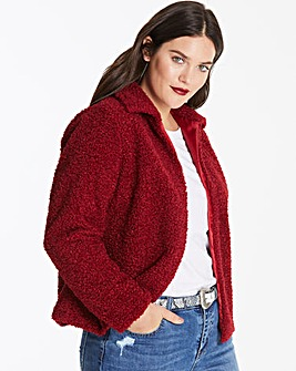 Berry Teddy Faux Fur Collar Coat