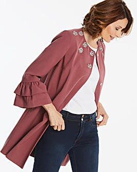 Fluted Sleeve Jacket With Embellishment