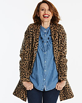 Leopard Print Shawl Collar Coat