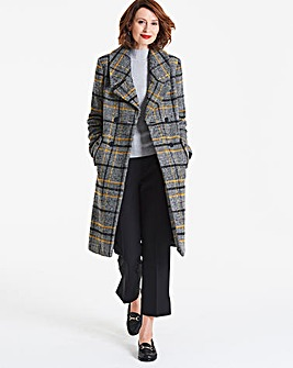 Check Wool Mix Double Breasted Coat