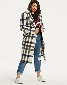 Blue Check Wool Trench Coat