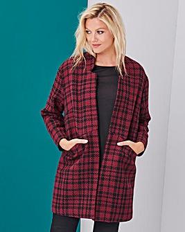 Red/Black Wool Look Blazer Coat