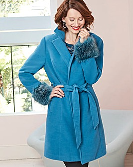 Teal Wool Coat with Faux Fur Trim Cuff