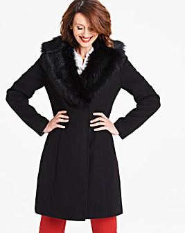 Wool Coat with Fur Trim Lapel