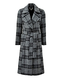 Grey Check Wool Fit and Flare Coat