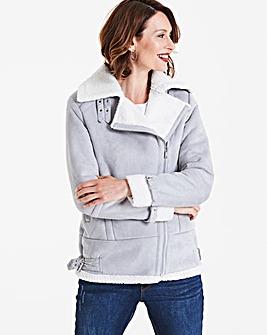 Grey/Cream Faux Suede Aviator Jacket
