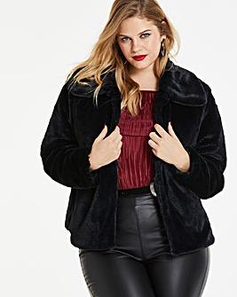 Black Short Faux Fur Coat