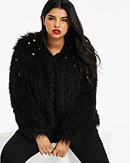 Pearl Trim Black Faux Fur Jacket
