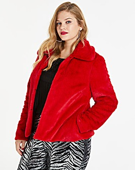Red Short Faux Fur Coat