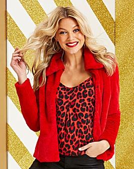 Red Short Faux Fur Coat