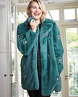 Green Jewel Trim Faux Fur Coat