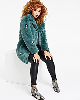 Green Jewel Trim Faux Fur Coat