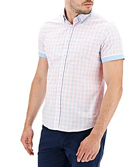 Pink Check Short Sleeve Double Collar Shirt Long