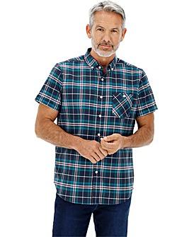 Navy Check Oxford Shirt Long