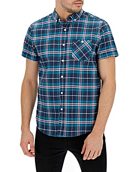 Navy Check Short Sleeve Oxford Shirt