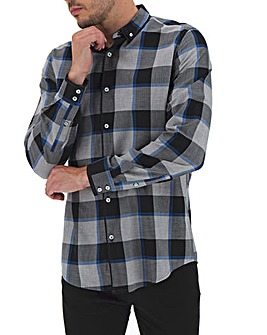 Black Check Double Collar Shirt Long