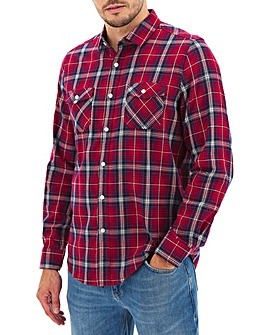 Red Check Long Sleeve Flannel Shirt Long