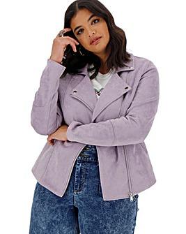 Lilac Suedette Biker Jacket