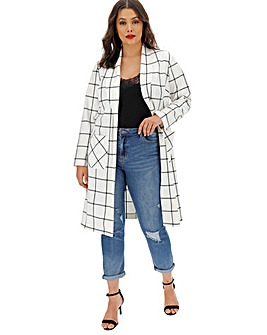 Check Print Duster Jacket