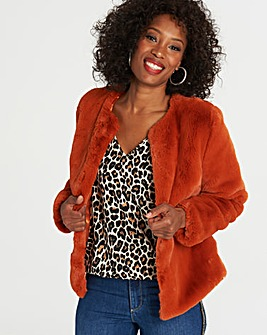 Short Faux Fur Soft Touch Coat