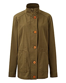 Stretch Cotton Khaki Utility Jacket