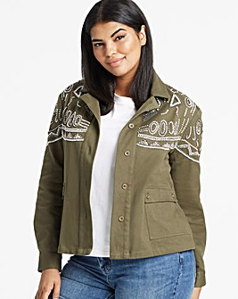 Khaki Beaded Embellished Shacket