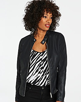 Tab Collar Faux Leather Biker Jacket