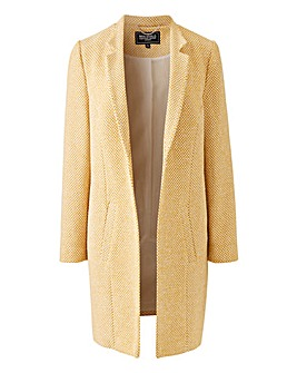 Ochre/White Textured Wool Look Coat