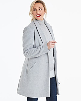 Grey Marl Wool Look Slim Lapel Coat